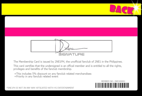 Official 2NE1PH Membership Card – Membership Card Sample
